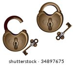 open and closed lock with keys... | Shutterstock .eps vector #34897675