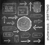 set of rustic wooden... | Shutterstock .eps vector #348979640