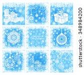 christmas cards set. white... | Shutterstock .eps vector #348984200