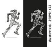 runners set of lines in... | Shutterstock .eps vector #348984638