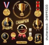 gold trophy and medal with... | Shutterstock .eps vector #348995333