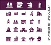 buildings  houses  icons  signs ... | Shutterstock .eps vector #349005164