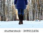 Woman Walk Park Winter Snow...