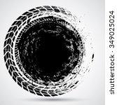 tire track vector round border... | Shutterstock .eps vector #349025024