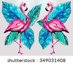 flamingo bird background | Shutterstock . vector #349031408