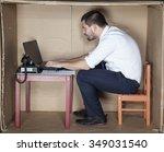 businessman in small office... | Shutterstock . vector #349031540