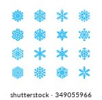 set of snowflakes. 16 vector...