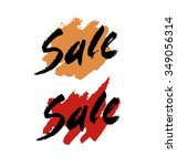sale text on red ink stain.... | Shutterstock .eps vector #349056314