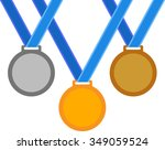 sports medals on a blue ribbons   Shutterstock .eps vector #349059524