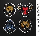 set logos animal heads. lion ...   Shutterstock .eps vector #349060010