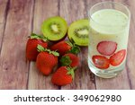 kiwi strawberry smoothie | Shutterstock . vector #349062980