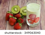 kiwi strawberry smoothie | Shutterstock . vector #349063040