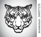 wild tiger ornament  ... | Shutterstock .eps vector #349077170