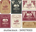 wine label set with a landscape ... | Shutterstock .eps vector #349079003