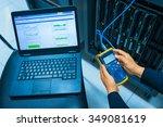 man fix server network in data... | Shutterstock . vector #349081619