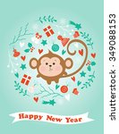 winter card with monkey in... | Shutterstock .eps vector #349088153