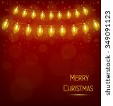 yellow led christmas lights... | Shutterstock . vector #349091123