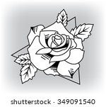 rose with leaves. vector... | Shutterstock .eps vector #349091540