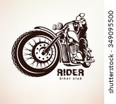 biker  motorcycle grunge vector ... | Shutterstock .eps vector #349095500