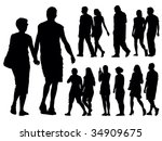 A set of people silhouettes. Vector illustration. - stock vector