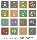 media player label icons for web | Shutterstock .eps vector #349100828
