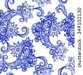 vector floral blue indian... | Shutterstock .eps vector #349102130