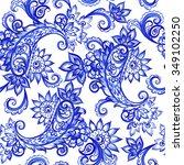 vector floral blue indian...   Shutterstock .eps vector #349102250