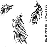 Hand Drawn Doodle Feathers Set...