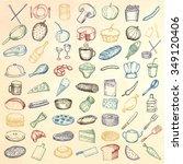 set of restaurant icons. hand... | Shutterstock .eps vector #349120406