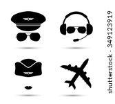 stewardess  pilot  airplane...   Shutterstock .eps vector #349123919