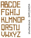 font made out of wooden bars ...   Shutterstock .eps vector #349124054