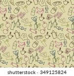 seamless pattern with food with ... | Shutterstock .eps vector #349125824