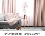 comfortable sofa with lamp and... | Shutterstock . vector #349126994