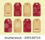 vector set of christmas gift... | Shutterstock .eps vector #349130714