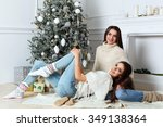two beautiful sisters near the... | Shutterstock . vector #349138364