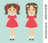 two girl with tails and braid... | Shutterstock .eps vector #349141058