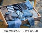 Blue Sock In Wood Tray  Woman'...