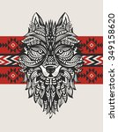 ethnic totem of a wolf. indian... | Shutterstock .eps vector #349158620