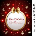 christmas decoration on red... | Shutterstock .eps vector #349159658