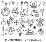 set of line christmas doodles... | Shutterstock .eps vector #349163129