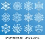 different forms of snowflakes ... | Shutterstock .eps vector #34916548