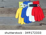 workers gloves and wrench on... | Shutterstock . vector #349172333