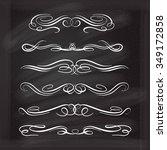 set of elegant white flourishes ... | Shutterstock .eps vector #349172858