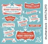 christmas set   retro labels ... | Shutterstock .eps vector #349176293