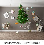 room with a christmas tree and... | Shutterstock . vector #349184000