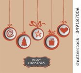 vintage card with christmas... | Shutterstock . vector #349187006