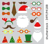 christmas photo booth set. hat... | Shutterstock .eps vector #349194188