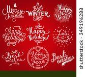 christmas label set. merry... | Shutterstock .eps vector #349196288