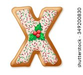 christmas gingerbread cookies... | Shutterstock .eps vector #349200830