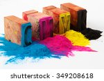 cmyk made from old letterpress... | Shutterstock . vector #349208618